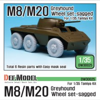 DW30025 WW2 U.S. M8/M20 Greyhound Sagged Wheel set (for Tamiya 1/35)