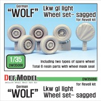 DW35088 German Wolf Lkw gl light Sagged Wheel set (for Revell 1/35)