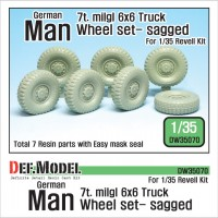 DW35070 German Man 7t. milgl 6x6 Truck Sagged Wheel set ( for Revell 1/35)