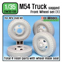 DW35108 US M54A2 Cargo Truck Sagged Front Wheel set (1) - Civilian type tire (for AFV club 1/35)