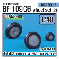 DS48012 1/48 Messerschmitt Bf-109G6 Wheel set (2) (Tamiya)